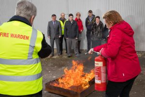 Abbot Fire Group external fire safety training using foam fire extinguisher