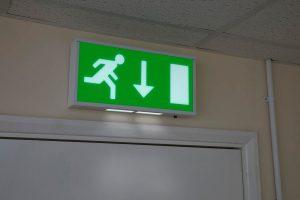 Emergency exit sign forward arrow